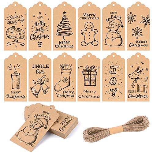 KUUQA 120Pcs Christmas Gift Tags Festival Gift Card for Christmas Gift Wrapping Label with Hanging Rope, 12 Different Styles, Black