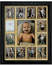 """Northland Baby First Year Personalized Frame - Holds Twelve 2.5"""" x 3.5"""" Newborn Nursery Decor Photos and 5"""" x 7"""" One Year Picture, Multiple Color Options, Customizable with any name"""