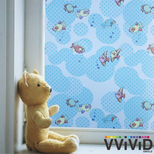 VViViD Stained Glass Kid's Underwater Fish Theme Static Cling Decorative Privacy Frosted Window Film for Bathroom, Kitchen, Home, Office (1.49ft x - Theme Water