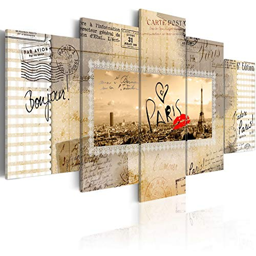 Postcards Framed Art Wall Decor - Prints Wall Art on Canvas Postcard from Paris Picture Modern 5pcs Painting Contemporary Home Decor for Bedroom Framed Easy Hanging C19, 20x40