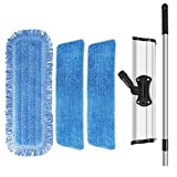 18'' Professional Microfiber Mop,Microfiber Flat Floor Mop for Hardwood Tile Laminate & Stone Floors, with Adjustable Aluminum Handle,Rotatable Frame,3 Premium Mop Pads for Wet and Dry Floor Cleaning