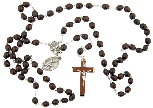 (Catholic Mens Gift Dark Brown Wood Bead Silver Tone Saint Francis of Assisi Medal Rosary Necklace)