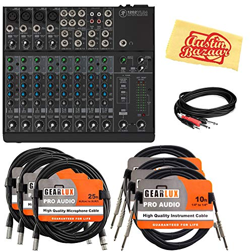 Mackie 1202VLZ4 12-Channel Compact Mixer Bundle with XLR Cables, Instrument Cables, Stereo Breakout Cable, and Austin Bazaar Polishing Cloth
