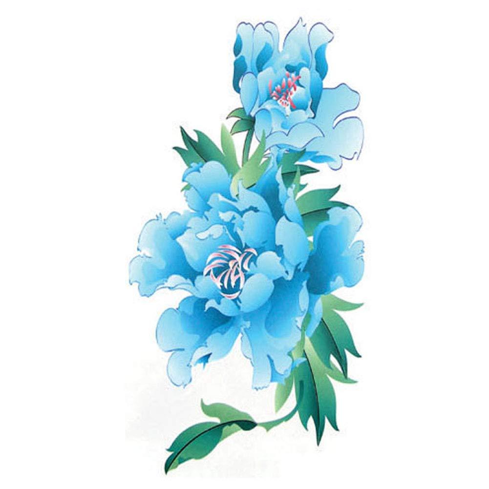 TAFLY Arm Temporary Tattoos Blue Flower Sexy Transfer Body Art Tattoos for Women 5 Sheets
