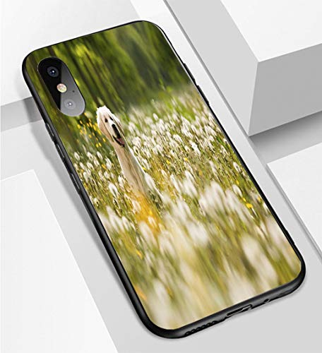 iPhone X/XS Ultra-Thin Phone case Portrait of Golden Retriever Frolicking in Field of Flowers Anti-Drop Anti-Slip Soft Convenient Protective Shell