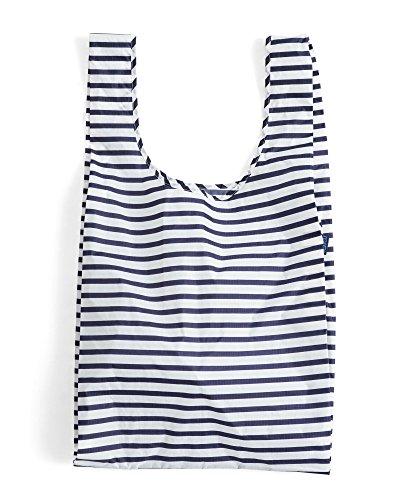 BAGGU Large Reusable Shopping Bag, Foldable Ripstop Nylon Tote for Laundry or Shopping, Sailor Stripe (Stripe Pattern Sailor)