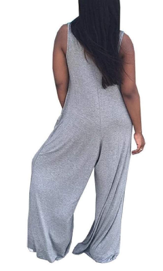 pipigo Women Basic Wide Leg V Neck Sleeveless Playsuit Jumpsuit