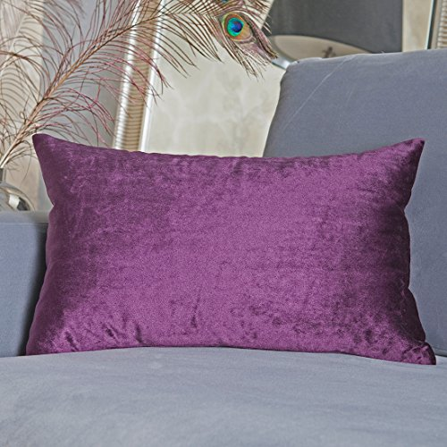 Home Brilliant Outdoor Lumbar Solid Throw Pillow Cover Decorative Cushion Cover for Patio/Couch/Neck Pain, with Hidden Zipper, 12'x20'(30x50cm), Eggplant
