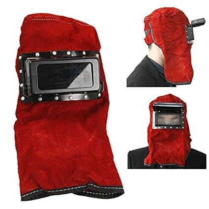 KUNSE Cuero Rojo Cara Cuello Protegido Lente Gafas Campana Casco Máscara De La Soldadura