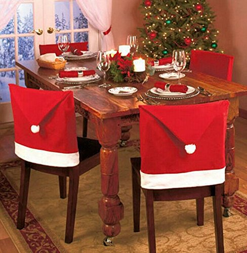 MAIPOETYRY Santa Clause Red Hat Chair Back Covers for Christmas Dinner Decor 6 Pcs per Set