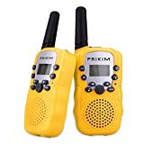 PRIKIM Walkie Talkies for Kids 8 Channel Handheld 2 Way Radio 3 KM Long Range Clear Sound (1 Pair) Yellow Girls Boys