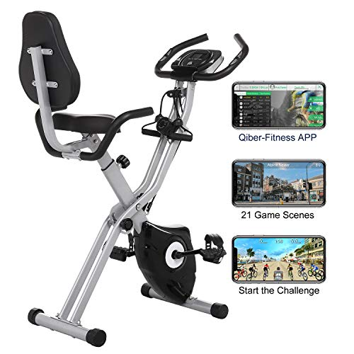 ANCHEER As Seen On TV 3-in-1 Stationary Bike - Folding Indoor Exercise Bike with APP and Heart Monitor - Perfect Home Exercise Machine for Cardio (Black) Ancheer