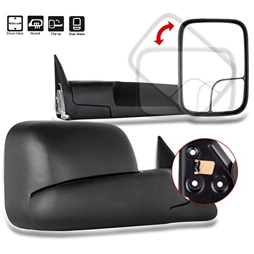 ECCPP Towing Mirrors for 1998-2002 Ram 2500 3500 1998-2001 Dodge Ram 1500 Pickup Truck Power Heated Folding Tow Rear View Pair Mirrors