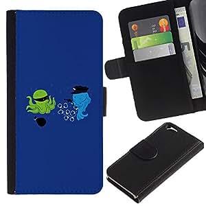 EJOY---La carpeta del tirón la caja de cuero de alta calidad de la PU Caso protector / Apple Iphone 6 / --La historieta divertida optimista azul
