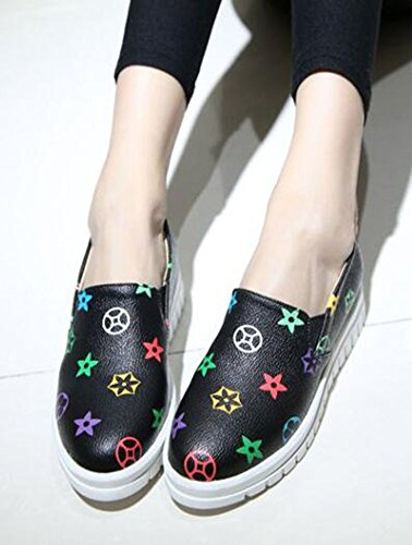 Black Toe On Round Womens Loafers Mid CHFSO Platform Slip Heel Top Stylish Low PqX711t