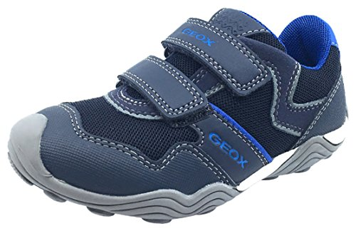 Geox Boy's Arno Hook and Loop Sneaker (Navy/Royal Blue, 29 M EU/11 M US Little - Leather Arno