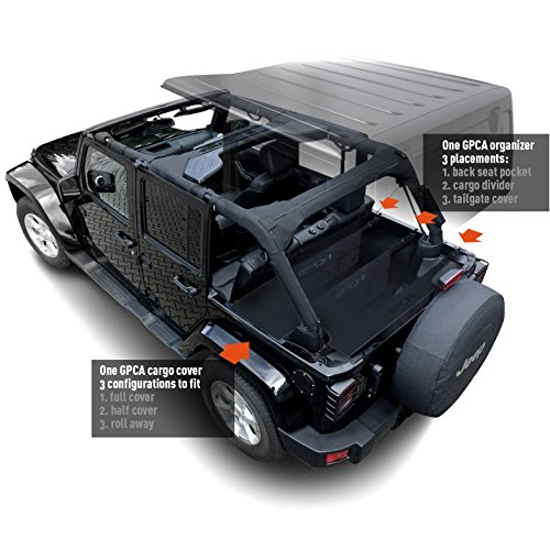 GPCA Jeep Wrangler 4DR Freedom Pack LITE - Cargo Cover LITE and Cargo Organizer Tailgate Cover for JKU Sports/ Sahara/ Freedom/ Rubicon 2007- 2018 models
