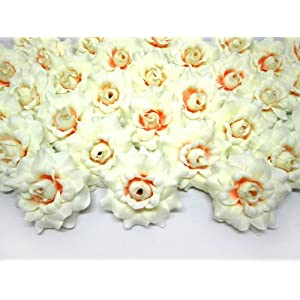 "(100) Silk Cream White Roses Flower Head - 1.75"" - Artificial Flowers Heads Fabric Floral Supplies Wholesale Lot for Wedding Flowers Accessories Make Bridal Hair Clips Headbands Dress 8"