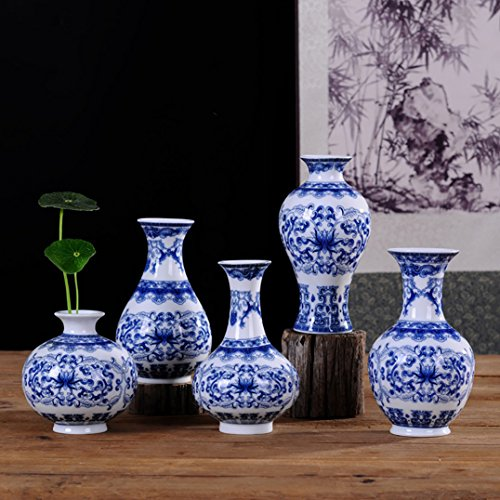Beautiful Home and Office Decor Accent Chinese Fine Porcelain Decorative Vase 5 pcs (blue and white)