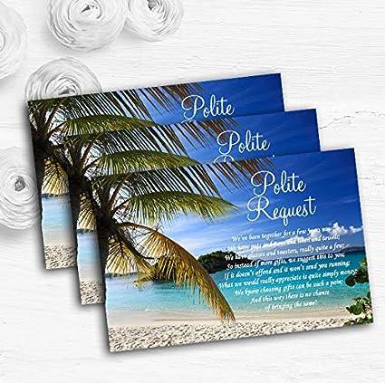 Palm Tree Beach - Tarjetas de poema personalizadas para boda ...