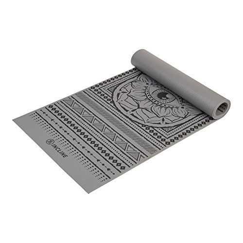 Incline Fit Yoga Mat Anti Slip Printed Yoga Mat (4mm & Thick & Non Slip Exercise Mat Yoga, Pilates, Stretching, Meditation, Floor & Fitness Exercises, Hamsa, 6mm