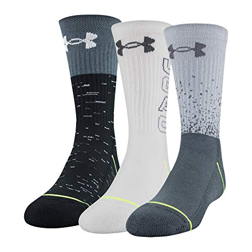 Under Armour Phenom Crew Socks 3 Pairs, Mod Gray Assorted, Youth Large