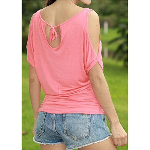 Zhhlaixing Personality relajado Exposed shoulders relajado String Short Sleeve Tops Shirts Big Size Women Sleeved Loose for Summer Pink