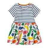 Eocom Little Girls Soft Summer Cotton Short Sleeve Dresses T-Shirt Casual Cartoon Dress for Kids (Stripe, 3T)