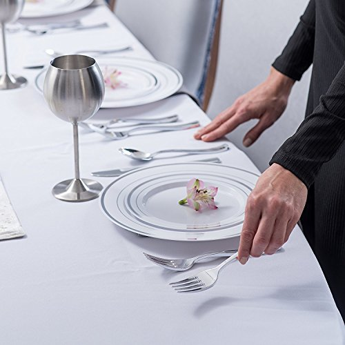 Stock Your Home 125 Disposable Heavy Duty Silver Plastic Forks, Fancy Plastic Silverware Looks Like Silver Cutlery - Utensils Perfect for Catering Events, Restaurants, Parties and Weddings by Stock Your Home (Image #2)