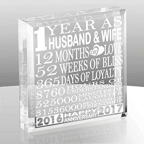 Kate Posh - 1 Year as Husband and Wife - Our First Anniversary Gift Paperweight and Keepsake - Includes 2016 (Marriage Year) and 2017 (1st Anniversary Year) - 1st Anniversary Gifts for Couples (Anniversary 1st Gift)