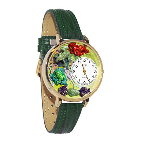 (Whimsical Watches Unisex G0140001 Frogs Hunter Green Leather Watch)