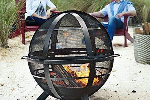 Landmann USA 28925 Ball of Fire Outdoor Fireplace, Black - Make sure this fits                by entering your model number. Outdoor fireplace with spherical spark screen Unobstructed 360-degree view of the fire - patio, outdoor-decor, fire-pits-outdoor-fireplaces - 51QRs5lpyjL -