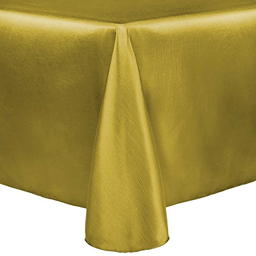 Ultimate Textile (3 Pack) Reversible Shantung Satin - Majestic 108 x 156-Inch Oval Tablecloth - for Home Dining Tables, Gold