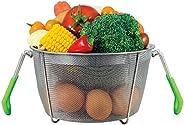 WhataBasket 2 Tiered Stack-able Steamer Baskets for Instant Pot or Stove Top - Vegetable Steamer Insert, Egg Basket, Pasta C