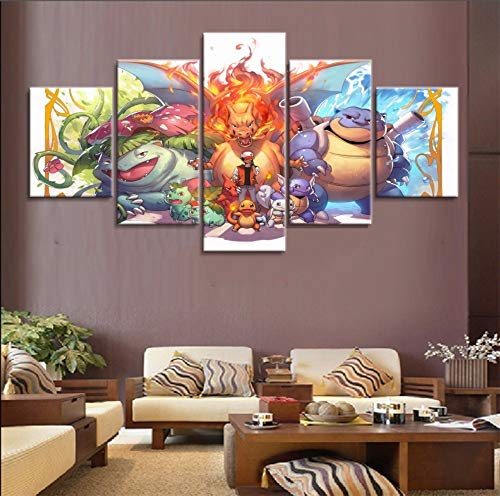 artwu Pokemon Poster Characters Wall Art Home Wall Decorations for Bedroom Living Room Oil Paintings Canvas Prints -