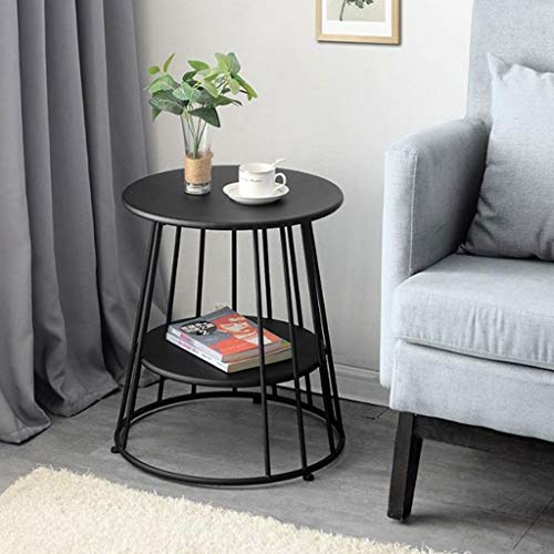 L-Life End Tables Side Table Wrought Iron 2 Tier Small Round Side Table, Leisure Coffee Table Bedroom Living Room Balcony Reading Table Dining Table (Color : Black, Size : 4770cm)