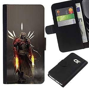 LECELL--Cuero de la tarjeta la carpeta del tirón Smartphone Slots Protección Holder For Samsung Galaxy S6 EDGE -- Héroe Guerrero --