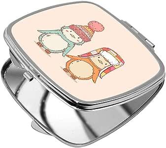 مرآة جيب، بتصميم كرتوني - فصل الشتاء ، شكل مربع