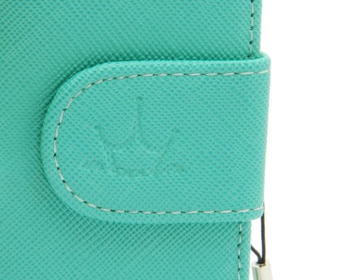 ZZYBIA® S4 TB w Teal Leatherette Stand Case Card Holder Wallet With White Bear Fringed Dust Plug Charm for Samsung Galaxy S4 IV I9500 I9505
