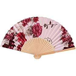 uxcell Lady Dancing Wood Frame Flower Pattern Chinese Style Foldable Hand Fan Light Pink Burgundy