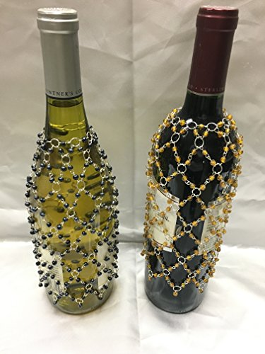 Bottle Covers Beaded Decorative Wine or Champagne Cover Set of 4 Black and Gold