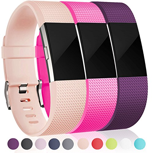 Maledan Accessories Bands Replacement Compatible for Fitbit Charge 2, Blush Pink, Rose Pink and Plum, Small
