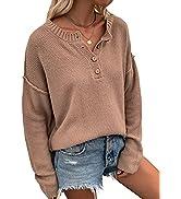 CinShein Women's Waffle Long Sleeve T Shirt V Neck Tunic Tops Knit Button Up Casual Fall Loose Bl...