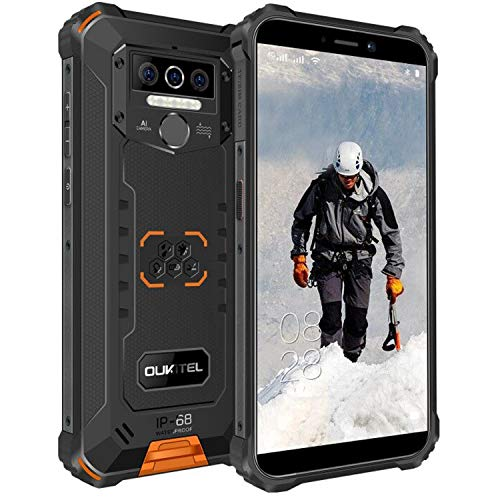 OUKITEL WP5 Pro Rugged Smartphone, 4GB + 64GB Unlocked Cell Phones, 8000mAh Battery IP68 Waterproof Phone Android 10.0 Global Version 4G LTE Dual-SIM 5.5inches Triple Camera Face Fingerprint (Orange)