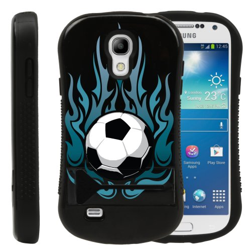 MINITURTLE, Grip Armor Series Hard Phone Case Cover Bumper with Built in Kickstand and Clear LCD Screen Protector Film for Samsung Galaxy S4 IV Mini (Fiery Soccer Ball)