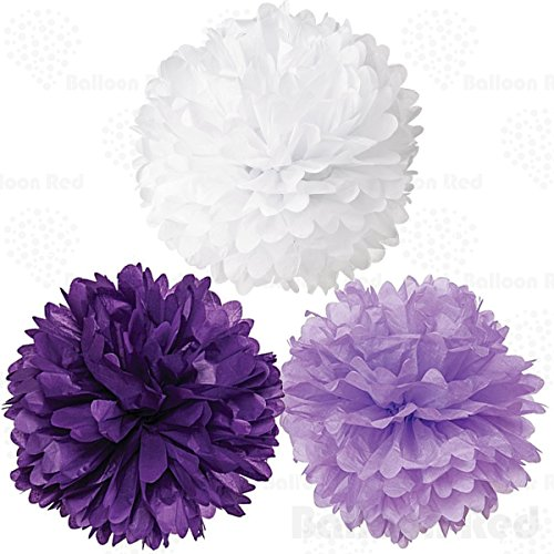 18 Inch Tissue Paper Flower Pom Poms, Pack of 6, Purple x 2 / Lavender x 2 / White x - 30 X Neon Sign 13
