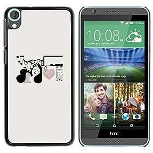 Be Good Phone Accessory // Dura Cáscara cubierta Protectora Caso Carcasa Funda de Protección para HTC Desire 820 // Music Notes Heart Love Girl Pen Art