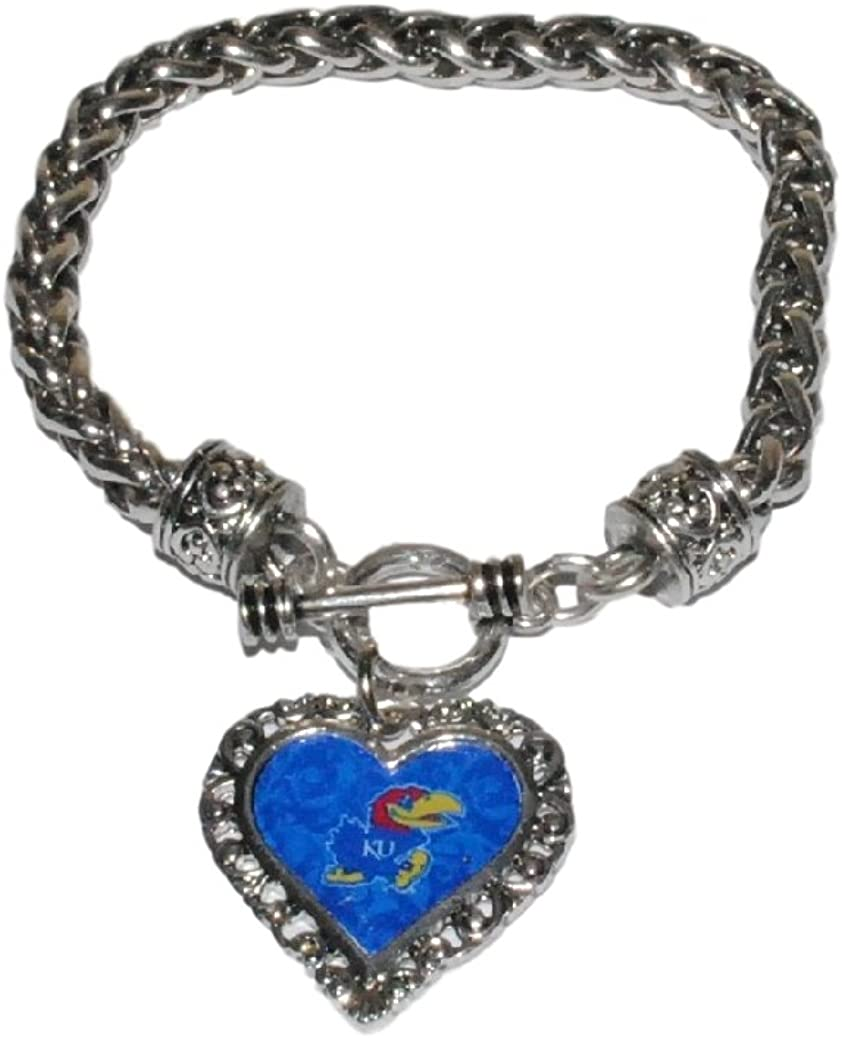 FTH Kansas Jayhawks College Bracelet - Braided Toggle with Lace Trim Heart