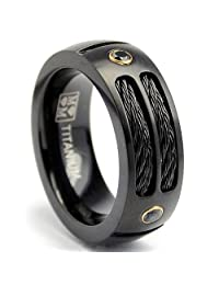 Metal Masters Co.® 8MM Black Titanium Ring Wedding Band with Black CZ and Black Twisted Stainless Steel Cables Sizes 7 to 13