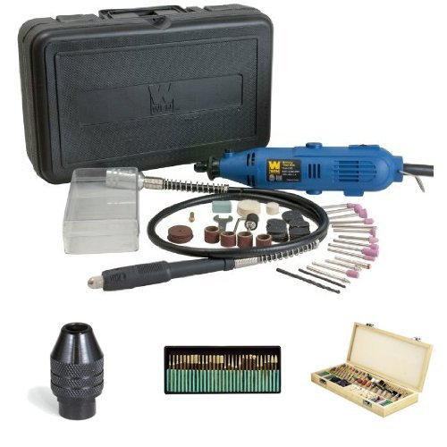 WEN 2305 Rotary Tool Kit with Flex Shaft with Keyless Rotary Tool Chuck,  SE 30-Piece Set of Titanium-Coated Diamond Burrs and SE 228-Piece Accessory Kit